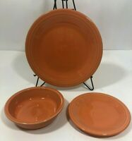FIESTAWARE TANGERINE DINNERWARE DISHES Bowl Plate 3 PIECE Setting Homer Laughlin