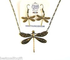 NEW 2 PC SET BRASS GOLD TONE DRAGON FLY PENDANT NECKLACE+EARRINGS+BOX