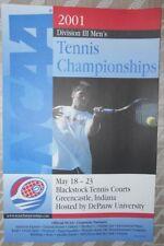 2001 NCAA Division III Men's Tennis Championships POSTER DePAUW U Near Mint
