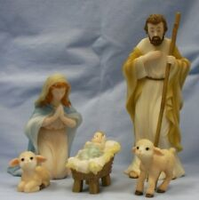 """Seraphim Classic 7"""" Nativity set-5 pc FOR UNTO US A CHILD IS BORN-Factory Sealed"""