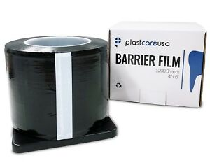 "Black Barrier Film Tape, Sheeting Dental Tattoo, Adhesive 1200 4"" x 6"" (8 Rolls)"