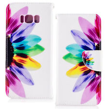 Colorful Flower Leather Card Slots Stand Shockproof Case For Samsung Galaxy S8+