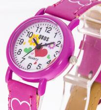 Kinderuhr Qbos pink mit Herzen und Blumen Mädchenuhr Armbanduhr Mädchen