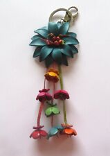Leather Key Ring-Bag Charm  FLOWERS- turquoise pink green  trigger hook & ring