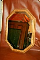 "Antique Ornate Rectangular Octagon 32x23"" Large Gilt Framed Hanging Wall Mirror"