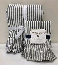 NEW Pottery Barn TEEN Emily & Meritt Ruffle Stripe TWIN Duvet Cover & Sham