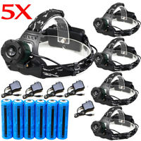 Tactical Military 20000LM T6 LED 18650 Rechargeable Headlamp Battery +Charger US