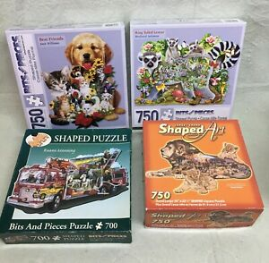 RARE 4 Animal SHAPED 750 Pieces Puzzles Bits and LION RACCOON DOG CAT FIRE TRUCK