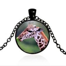 Giraffe Glass Pendant Black Dome glass Photo Art Chain Pendant Necklace