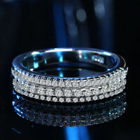 Luxury White Topaz Promise Ring 925 Silver Womens Wedding Band Jewelry Size 5-10