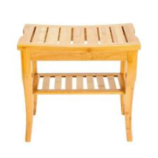 Wooden Shower Stool Wood Bathroom Bench Seat Bamboo Bath Spa Sauna Chair Shelf