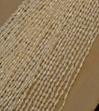 """Buy 3 get 1 free! Fresh-water pearl strand, 16"""", 3x5 mm, rice shape, good luster"""