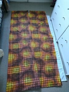 """VINTAGE 1950'S ORANGE/GOLD/BROWN BARCLOTH CURTAINS 44"""" X81"""" FOR REWORK OR FABRIC"""