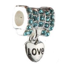 HOT 925 Silver CZ love pendant European Charm Bead Fit sterling Bracelet A#131