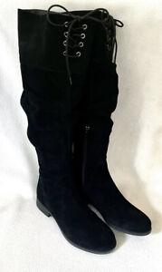 Matisse Camila Black Suede Over Knee Boots Lacing Zip sz 6W