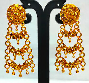 22K Gold Plated Indian Bollywood 5 CM Long Wedding Fashion Earrings Set ETFNS10
