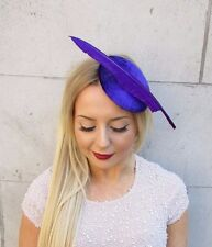 Purple Velvet Statement Feather Hair Fascinator Hat Races Headpiece Vintage 2548