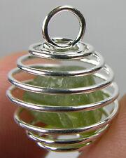 Arizona USA 100% Natural Raw Peridot Crystal Specimen in Spiral Cage Pendant