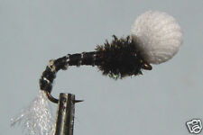 1x Mouche peche Chironome Noir Emergente H12/14 mosca emerger fly black