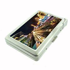 Silver Cigarette Case with Lighter Las Vegas Design 09 City Lights Casino Poker