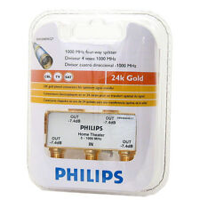 PHILIPS TV ANTENNA CABLE SPLITTER 4-WAY 24K GOLD PLATED USA SWV3040W/27