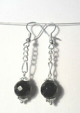 Dangle earrings - blue glitterstone/goldstone ball drops