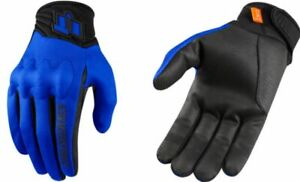 Icon Anthem 2 CE Mens Blue Textile Motorcycle Riding Street Racing Gloves