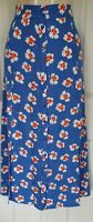LADIES M&S BLUE FLORAL PRINT A-LINE BUTTON DETAIL MIDI SKIRT SIZE 18 REG BNWT