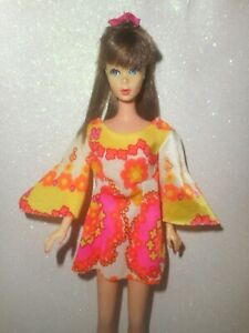 Barbie PJ dress inspired bright yellow pink mini skirt flair sleeve dress pantie