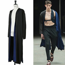 runway DRIES VAN NOTEN SS15 black pinstripe blue lined long kimono robe jacket L