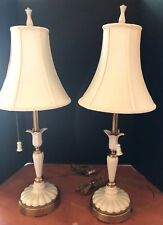 Lenox Quoizel Ivory porcelain fluted ribbed lily flower table desk lamps Pair
