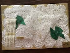 4 Vintage Hand Crocheted In Ireland Doilies Placemats,Scalloped Edges 12-18 NOS