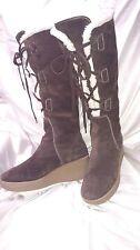 Michael Michael Kors dark brown suede lace wedge heel high boots fleece lined 9M