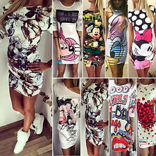 Women's Printed Bodycon Mini Dress Summer Casual Party Sundress Pencil Dresses