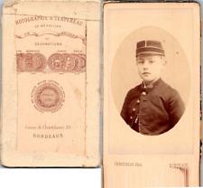 Terpereau, Bordeaux, Jeune garçon en tenue école militaire Vintage CDV albumen c