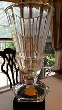 "Val St Lambert Crystal Belgian Signed VASE 10"" Hex Base Gardenia Collection Disc"