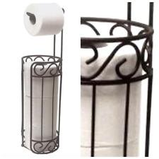 Free Standing Toilet Paper Tissue Roll Holder Bronze Stand  Bathroom Organizer