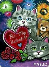 Original Kittens Bear Presents Valentines Day Candy Fireworks Love Aceo Painting