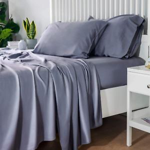 Bedsure 100% Bamboo Sheets King Size Cooling Sheets Deep Pocket Bed Sheets-Super