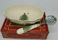 Spode Cranberry Dish with Server Christmas  Tree Gold