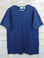 Denim & Co Essentials Cotton Jersey Oversized Scoop Neck Tee Navy Blue A60263