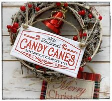 Hanging sign Winter Christmas Candy Canes Kringle Candy Co Bakery Kitchen