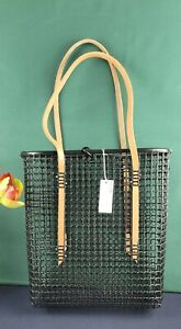 MZDID Studio - Mesh Tote - Hand-cut leather natural color handle Recycle Plastic