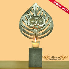 Metal Owl Face Egyptian Iron Candle Holder Tealight Table Stand Ornaments Gift