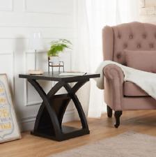 Modern Espresso Wood End Table X Shaped Base Furniture of America Barkley NEW