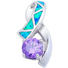 Round Faceted Amethyst & Blue Opal .925 Sterling Silver Pendant 21.5mm