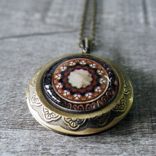Gothic Medieval Pattern Glass Dome Brass Round Picture Locket Pendant Necklace