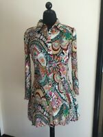 Rossi Roma Women Top Tunic Mix color Crinkle Pleat Size 1XL