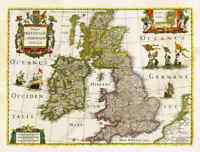 Great Britain Ireland Scotland Wales British Isles map Hondius 1638 art poster