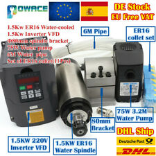 【ES】1.5KW Water Cooled Spindle Motor 220V ER16 +VFD Inverter+Clamp+Pump+Collets